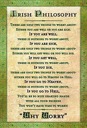 Blechschild 20x30cm Irish Philosophy There Is Nothing To Worry About Schild -