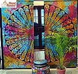 NANDNANDINI TEXTILE - indische Mandala Vorhang Hippie böhmische Krawatte und sterben Vorhänge, enthalten 2 Stück Set Mandala Vorhang, Vorhänge, V & Schabracken, Vintage Fenster Behandlung Gardinen