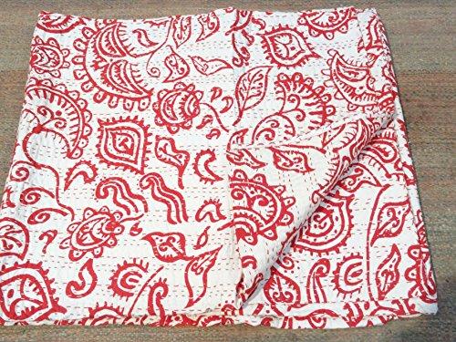 Tribal Asian Textiles tribale Stampa Queen Size Kantha, Kantha Coperta, Copriletto, Copriletto Kantha, Bohemian Bedding Kantha Dimensioni 228,6x 274,3cm