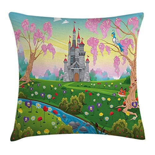 Cartoon Decor Werfen Kissenbezug, Märchenschloss Scenery in Floral Garden Princess Kids Mädchen Fantasy Bild, dekorative quadratisch Accent Kissen Fall, 45,7x 45,7cm, Multi -