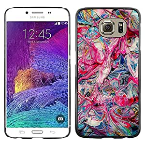 Omega Covers - Snap on Hard Back Case Cover Shell FOR Samsung Galaxy S6 - Pink Oil Colors Teal Pink Dripping Chaos