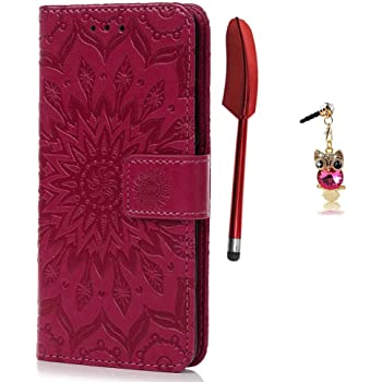 Slynmax Flip Case Compatible with Samsung Galaxy Note 8 Case Leather Wallet Magnetic Clasp Flip Folio Embossed Mandala Pattern Cover with Stand Function Wrist Strap Card Holder Shockproof Case