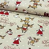 Brittschens Stoffe und Zutaten Stoff Meterware Dekostoff Weihnachten Weihnachtsmann Rentier in Leinenoptik zum nähen