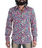 Buntes 70er Wellen Muster Retro Hemd XL