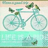 20 Servietten Mit dem Fahrrad unterwegs / Reisen / Frühling 33x33cm