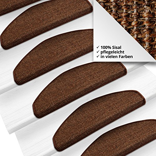 Sisal - Stufenmatten, Stufenmatte, Treppenteppich MA dunkelbraun groß, gewebt in natürlicher, schöner Sisalstruktur,eingepresster Treppenwinkel für sicheren Halt, wohnlichen Farben und rutschsicher für Mensch und Tier