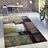 Designer Rug Modern Living Room Oil Painting Abstract Rust Effect In Black Yellow, Size:160x220 cm