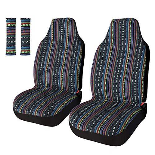 Striped Colorful Sitz Cover Baja blau Satteldecke Weave Universal Eimer Sitz mit Gürtelabdeckung Set Striped Set