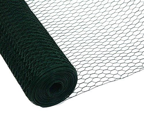 50meter Rotolo rete Metallica esagonale Polli recinzione pollame recinzione recinzione rivestimento in PVC verde Maglie 13mm (altezza 100cm)