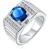 Bling Jewelry 3CT Oval Brilliant Cut Solitaire AAA CZ Dichiarazione Uomo Fidanzamento Anello Nuziale Wide Band Argento Placca