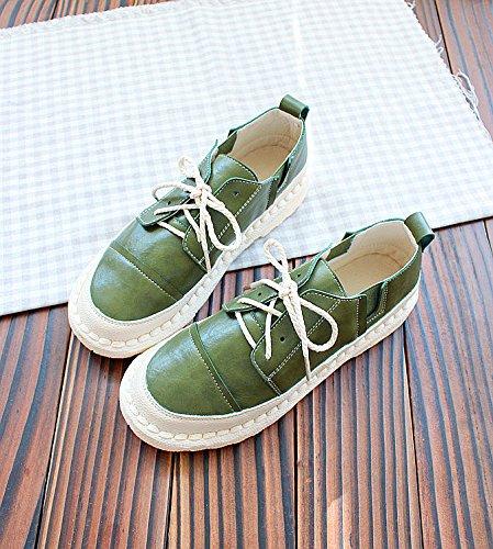 Scarpe di Verde bianco colore scarpe scarpe suola Frenulum puro piatta Scarpe Low Spring Wuyulunbi xqH8TH