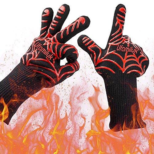Ufamiluk BBQ Grillhandschuhe (1 Paar) Extra Lange 13,5 inch Kochhandschuhe Hitzerbeständige Handschuhe Ofenhandschuhe für Grillen, Kochen, Backen BBQ und Schweißen (Kochen Grillen)
