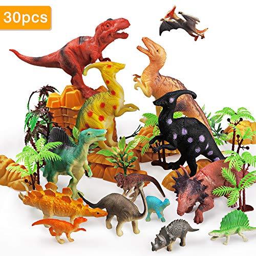 Rolytoy VraiJouet Dinosaurios, 30 PCS Juguete de Dinosaurios Set con 10 pcs arboles y Montañas de Mundo Jurásico Velociraptor Tyrannosaurus