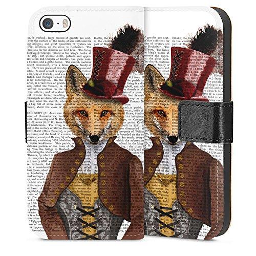 """artboxONE Handyhülle Apple iPhone 6, schwarz Hard-Case Handyhülle """"Fürst Fuchs Case"""" - Tiere - Smartphone Case mit Kunstdruck hochwertiges Handycover von FabFunky Sideflip Case"""