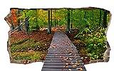 Startonight 3D Tapete Die Brücke im Wald, Wandmalerei Bild an der Wand Großformat Modern Muster Dekorative Kunst Wand 82 x 150 cm