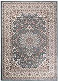 Traditioneller Klassischer Teppich für Ihre Wohnzimmer - Türkis Beige - Perser Orientalisches Heriz Keshan Muster - Blumen Ornamente - Top Qualität Pflegeleicht