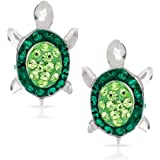 Green Crystal Baby Sea Turtle Earring Set, Never Rust 925 Sterling Silver, Natural & Hypoallergenic Studs For Women, Girls &
