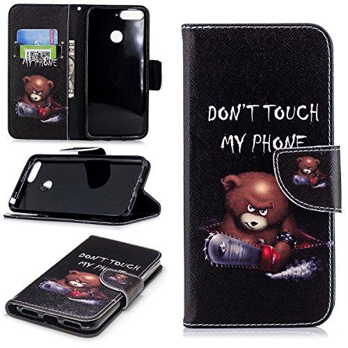 sinogoods Für Huawei Y6 2018 / Huawei Honor 7A Hülle, Premium PU Leder Schutztasche Klappetui Brieftasche Handyhülle, Standfunktion Flip Wallet Case Cover - Bär