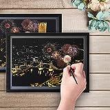 DBG - Lot de 8 cartons pour peinture à gratter - Format carte postale - Avec 5 outils - Animaux et scènes de nuit