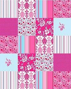 patchwork di carta da parati patchwork rosa e blu - 155701 - di ESTAhome.nl