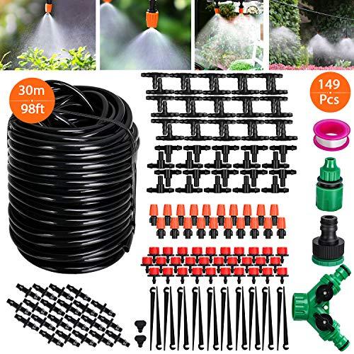 kit di irrigazione a goccia, tencoz set di irrigazione regolabile149 pz sistema di irrigazione da giardino 30m diy kit di micro irrigazione automatico per giardino serra impianto prato