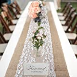 Vintage Burlap Table Runners 30x275cm Rustic Jute Shabby Lace Hessian Table Runner for Wedding Festival Party Event Decorations (1pack)
