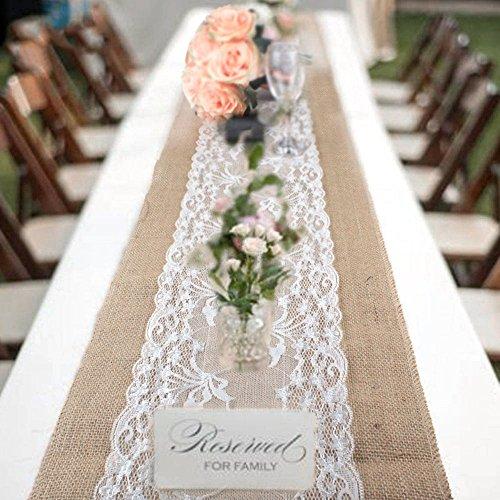e-Optik, Sackleinen, 30x 275cm, Shabby-Chic-Look, aus Jute mit Spitze, Tischläufer für Hochzeit Fest Party Events Dekorationen (Hochzeit Dekoration)