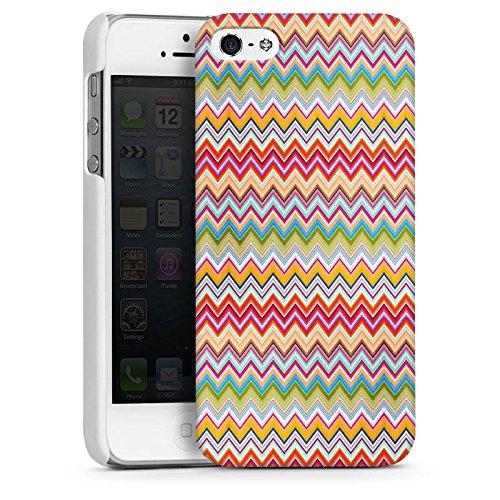 Apple iPhone 5s Housse étui coque protection Zigzag Aztèques couleurs Motif CasDur blanc