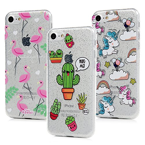 3x Cover iPhone 7 Silicone e Bling Glitter Brillanti, iPhone 8 Custodia Morbida TPU Flessibile Gomma - MAXFE.CO Case Ultra Sottile Cassa Protettiva per iPhone 7 / iPhone 8 - Modello 2 Modello 1