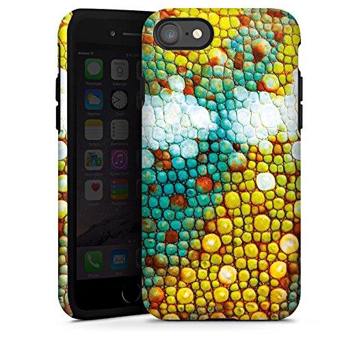 Apple iPhone X Silikon Hülle Case Schutzhülle Chamäleon Muster Chamäleonhaut Look Tough Case glänzend