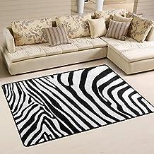 coosun Zebra Pattern Area Rug alfombra antideslizante alfombra de suelo (Doormats para salón o dormitorio, tela, multicolor, 72 x 48 inch