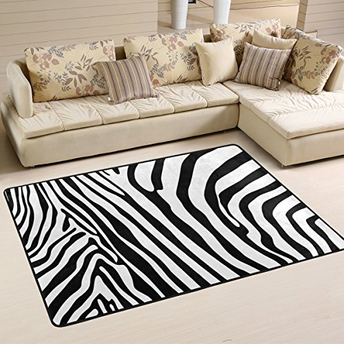 COOSUN Zebra Pattern Area Rug Alfombra Antideslizante