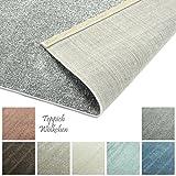 Designer-Teppich Pastell Kollektion | Flauschige Flachflor Teppiche fürs Wohnzimmer, Esszimmer, Schlafzimmer oder Kinderzimmer | Einfarbig, Schadstoffgeprüft (Grau, 160 x 230 cm)