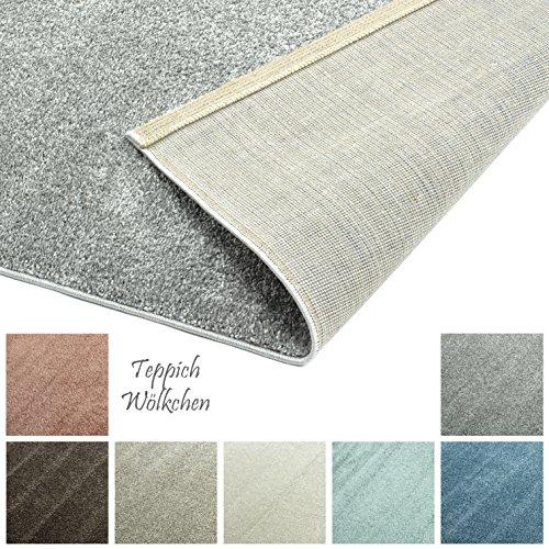 Preisvergleich Produktbild Designer-Teppich Pastell Kollektion | Flauschige Flachflor Teppiche fürs Wohnzimmer, Esszimmer, Schlafzimmer oder Kinderzimmer | Einfarbig, Schadstoffgeprüft (Grau, 40 x 60 cm)