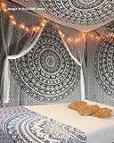 Exklusive Schwarz und Weiß Tapisserie von raajsee,Mandala Wandteppich,Queen Elefanten Ombre,Multi Farbe indischen Mandala Wand Kunst Hippie Wandbehang Bohemian indischen Strandtuch 210x220 cms