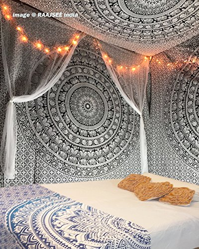 d Weiß Tapisserie von raajsee,Mandala Wandteppich,Queen Elefanten Ombre,Multi Farbe indischen Mandala Wand Kunst Hippie Wandbehang Bohemian indischen Strandtuch 210x220 cms ()