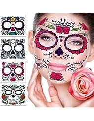 Tatouage temporaire du visage, 4 Kits Tattoos Stickers Crâne De Sucre Jour du Maquillage Mort, Tattoo Design Rose pour Halloween, mascarade et fêtes (Stickers Visage)