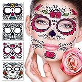 Tatuaje facial temporal, 4 Kits Tatuajes Sugar Skull Stickers Day of The Dead Makeup, Face Tattoo Rose Design para Halloween, Mascarada y Fiestas (Pegatinas de cara)