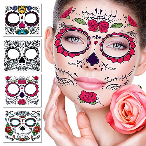 Tatuaggio temporaneo, 4 kit tatuaggi adesivi con teschi di zucchero day of the dead makeup, face tattoo rose design per halloween, masquerade e feste (adesivi per il viso)
