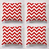 Cushion sets, set of 4 garden cushions, 4 funky outdoor cushions, 4 x Cheveron Cushiosns perfect for indoors and outdoors (Red)