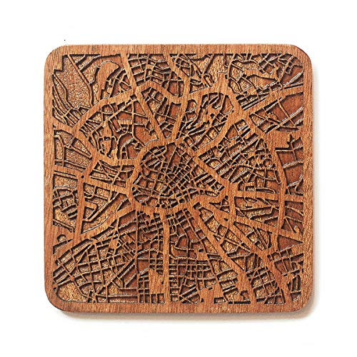 O3 Design Studio Manchester Map Untersetzer aus Sapeli-Holz mit Stadtkarte, mehrere Städte, optional, handgefertigt