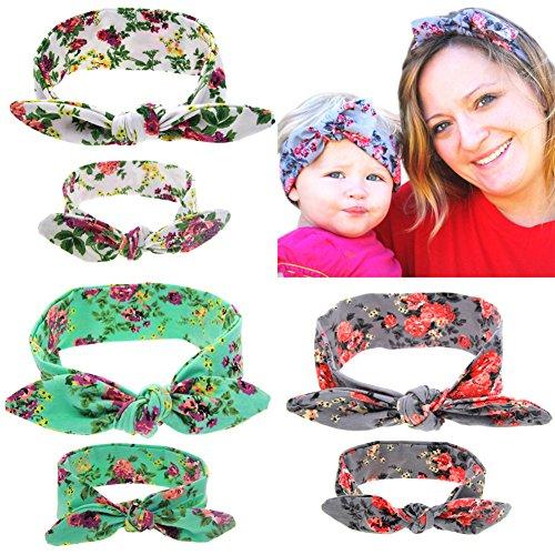 Itaar 3 Coppie di Fasce Capelli Elastiche per Mamma e Bimba Colorate Regali per Neonate Bambine Fai da Te