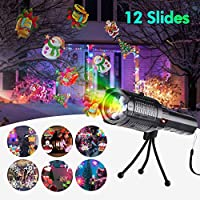 Owfeel LED Projector Flashlight Christmas Portable Flashlight with 12 Pattern Slides and Tripod USB Charging, Handheld Projector