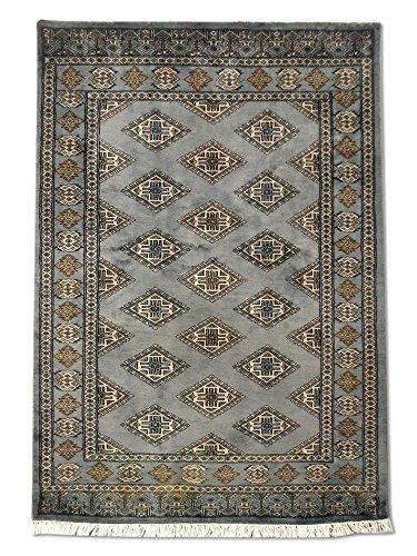 Tradizionale fatto a mano jaldar persiano, lana, Grigio, 122x 173cm, 4'x 5' 8
