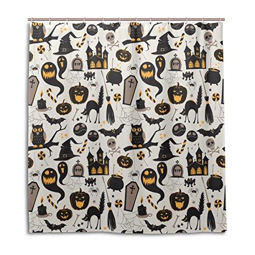 jstel Decor Vorhang für die Dusche Halloween Kürbis Geist Katze Muster Print 100% Polyester Stoff 167,6x 182,9cm für Home Badezimmer Deko Dusche Bad Vorhänge mit Kunststoff Haken (Beach Geist Halloween-long)