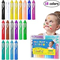 TOYMYTOY Face Paint Crayons Body Painting Kits Makeup Paint Pens Washable 18 Colors Pens for Kids Crafting Party Decoration