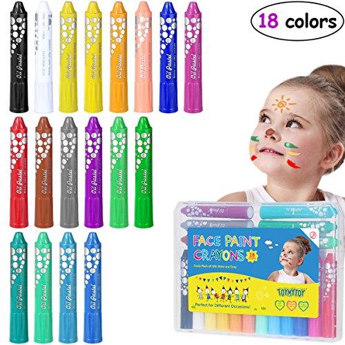 TOYMYTOY Körper Malen Buntstifte Gesichtsfarbe Buntstifte Kits Malerei Sticks Set Waschbar 18 Stifte für Make-up Körper Malerei