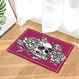 gohebe Sugar Skull Decor Skulls in Blumen mit Schmetterling Bad Teppiche rutschhemmend Fußmatte Boden Eingänge Innen vorne Fußmatte Kinder Badematte 39,9x 59,9cm Badezimmer Zubehör