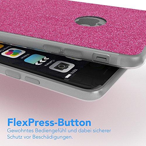 """Apple iPhone 6S Plus / 6 Plus Hülle, EAZY CASE Cover """"Henna"""" - Premium Handyhülle mit Indischer Sonne - Transparente Schutzhülle in Weiß Transparent Pink"""