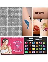Kit de Tatouage Temporaire, Kit de Glitter Tattoos, 120 Brillant Corps Pochoirs + 24 Glitter Pourde + 3 Colle + 2 Brosss Maquillage du Corps Tatouer